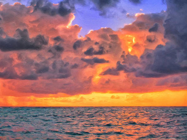 Fatu Hiva Wall Art - Painting - Sunset Off Tahiti by Dominic Piperata