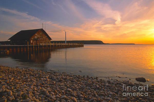 Bronstein Photograph - Sunset On Anderson's Dock - Door County by Sandra Bronstein