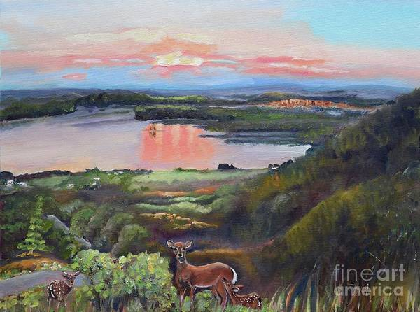 Painting - Sunset On At Legacy Bay - Paradise - Deer by Jan Dappen