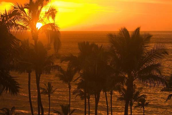 Oceanfront Photograph - Sunset On Beach, Wailea, Hawaii by Stuart Westmorland