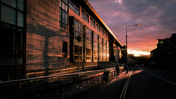 Faceless Photograph - Sunset On Bridge Street - Dublin, Ireland - Color Street Photography by Giuseppe Milo