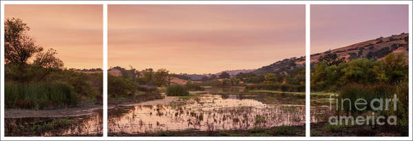 Wall Art - Photograph - Sunset On Halls Valley Lake, Tryptych - Soft Light Warm by Dean Birinyi