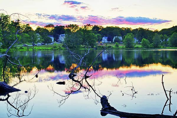 Photograph - Sunset On Kenoza Lake Haverhill Ma Reflection by Toby McGuire