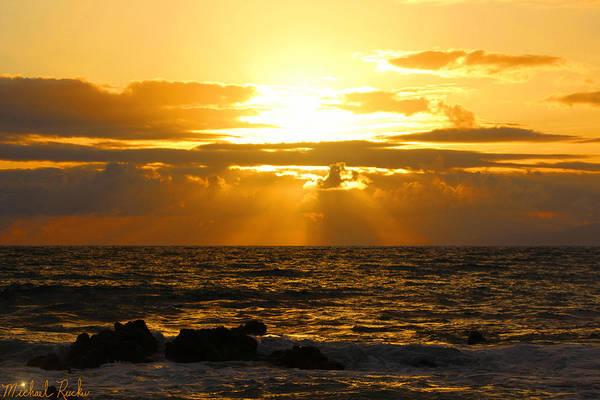 Ocean Sunrise Wall Art - Photograph - Sunset On Maui Beach by Michael Rucker