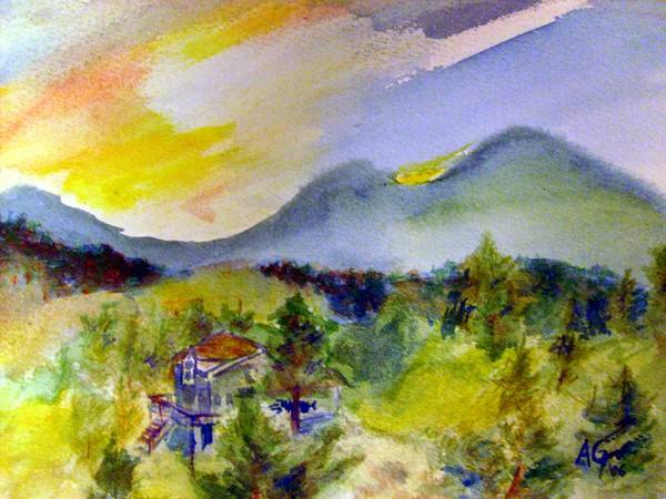 Painting - Sunset On Mount Falcon by Andrew Gillette