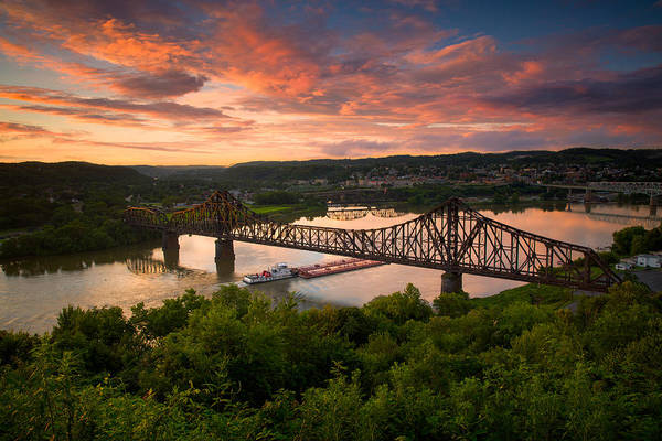 Raccoons Photograph - Sunset On Ohio River  by Emmanuel Panagiotakis