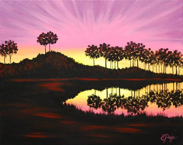 Painting - Sunset On Pond by Emily Page