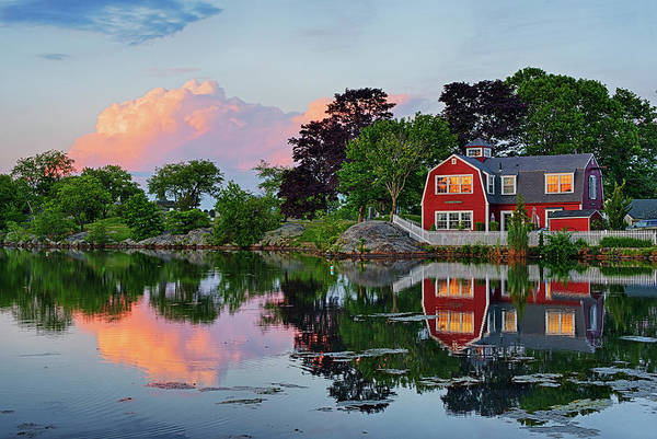 Photograph - Sunset On Redds Pond Marblehead Ma Red Clouds by Toby McGuire