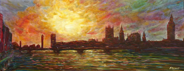 Painting - Sunset On Thames by Pete Caswell