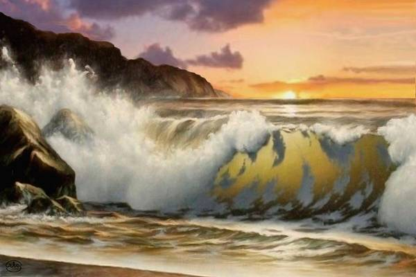 Wall Art - Painting - Sunset On The Beach by Ron Chambers