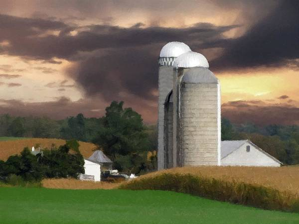 Silo Photograph - Sunset On The Farm by David Dehner