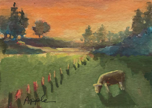 Wall Art - Painting - Sunset On The Farm by Linda Apple