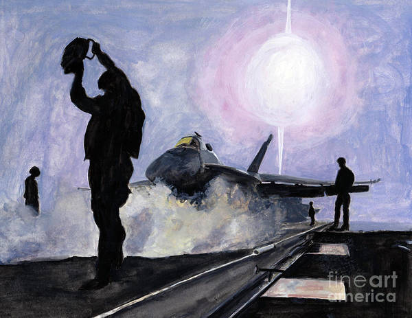 Flight Deck Painting - Sunset On The Flight Deck by Sarah Howland-Ludwig