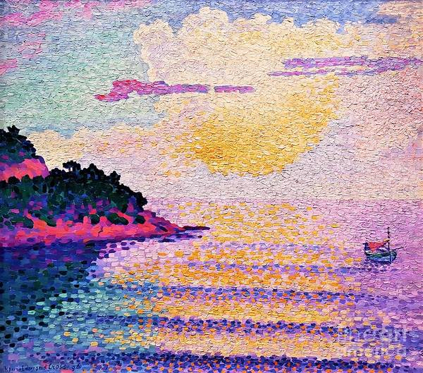 Wall Art - Painting - Sunset On The Sea by Pg Reproductions