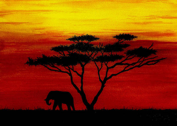 Wall Art - Painting - Sunset On The Serengeti by Michael Vigliotti