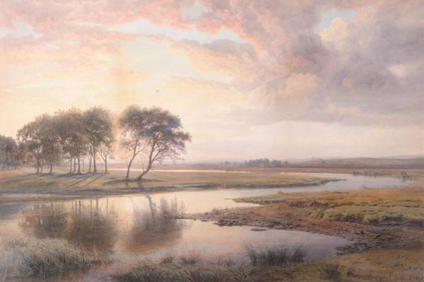 Wall Art - Painting - Sunset On The Shannon by Henry Albert