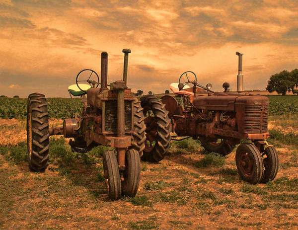 John Deere Wall Art - Photograph - Sunset On The Tractors by Ken Smith