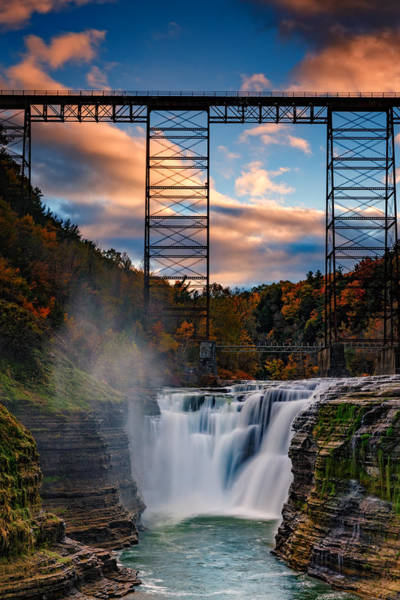 Letchworth Photograph - Sunset On The Upper Falls by Rick Berk