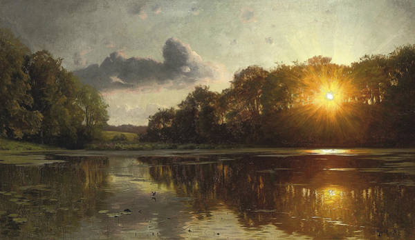 Painting - Sunset Over A Forest Lake by Peder Monsted