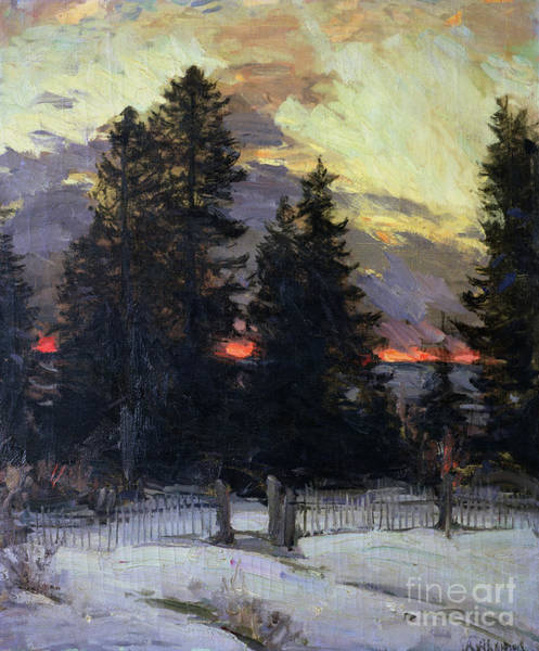 Pine Trees Painting - Sunset Over A Winter Landscape by Abram Efimovich Arkhipov