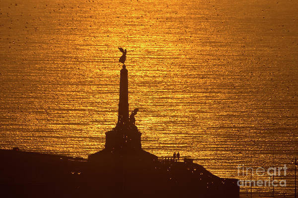 Photograph - Sunset Over Aberystwyth War Memorial by Keith Morris