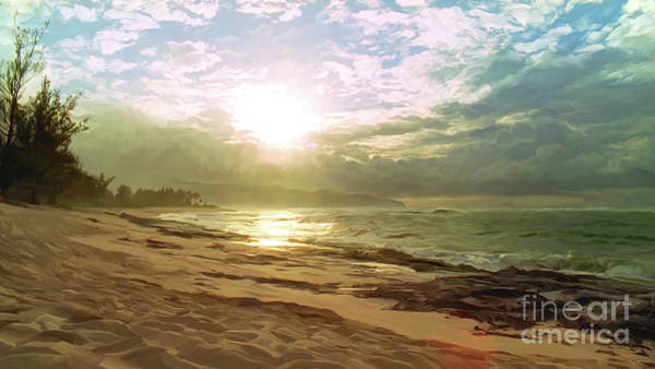 Shower Curtain Digital Art - Sunset Over Beach  by Paul Tagliamonte
