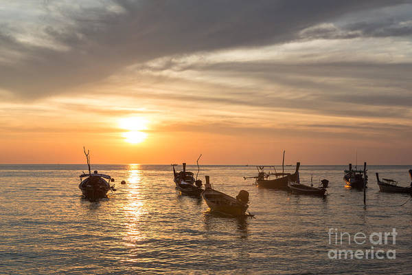 Photograph - Sunset Over Boats In Koh Lanta In Thailand by Didier Marti
