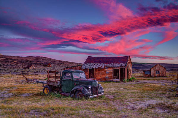 Bodie Ghost Town Wall Art - Photograph - Sunset Over Bodie's Green Truck by Jeff Sullivan