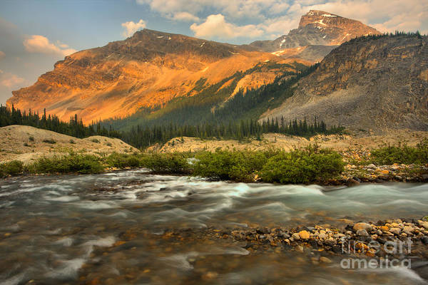 Photograph - Sunset Over Bow Glacier Stream by Adam Jewell
