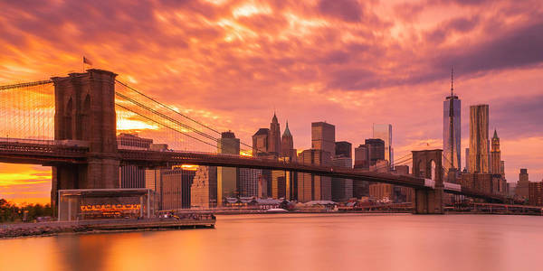 Photograph - Sunset Over Brooklyn Bridge In New York City Skyline Panorama by Ranjay Mitra