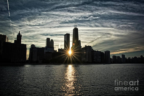 Beach City Wall Art - Photograph - Sunset Over Chicago Skyline And Lake Michigan by Bruno Passigatti