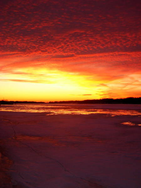 Photograph - Sunset Over Frozen Lake Macatawa by Michelle Calkins