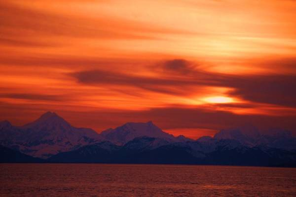 Photograph - Sunset Over Glacier Bay by Helen Carson