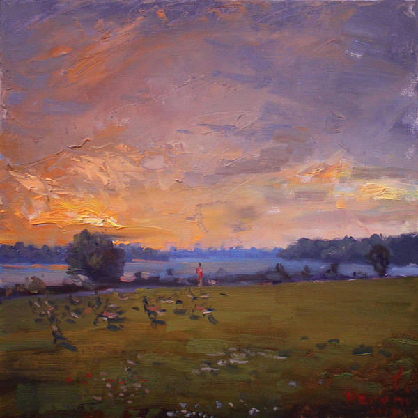 Wall Art - Painting - Sunset Over Gratwick Park by Ylli Haruni