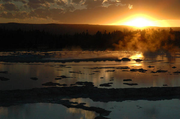 Photograph - Sunset Over Great Fountain Geyser In Yellowstone National Park by Bruce Gourley