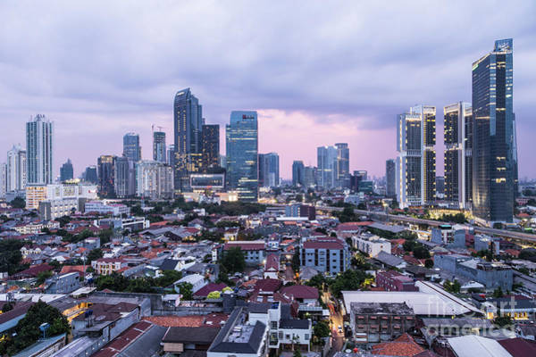 Photograph - Sunset Over Jakarta Business District In Indonesia Capital City. by Didier Marti