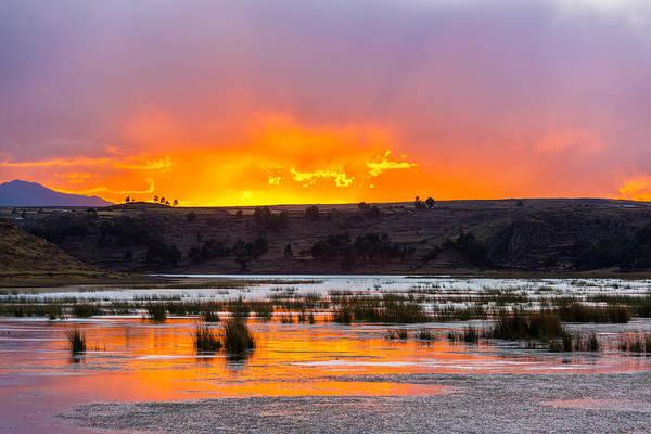 Puno Photograph - Sunset Over Lake Umayo by Jess Kraft