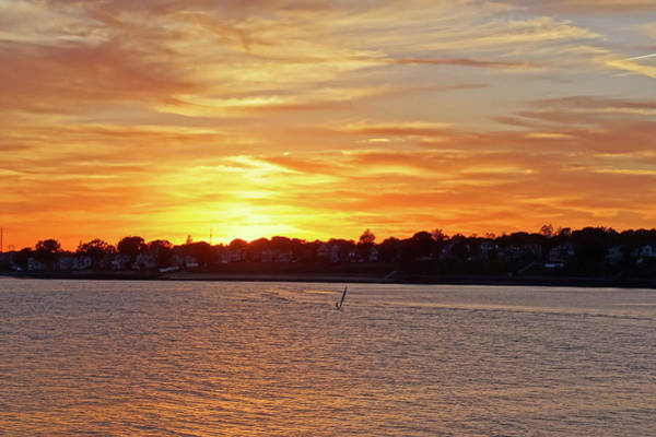 Photograph - Sunset Over Lynch Park Beverly Ma Wind Surfer by Toby McGuire