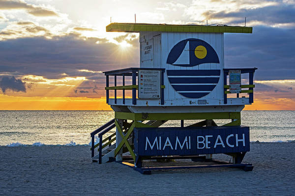 Photograph - Sunset Over Miami Beach Miami Lifeguard House Florida by Toby McGuire