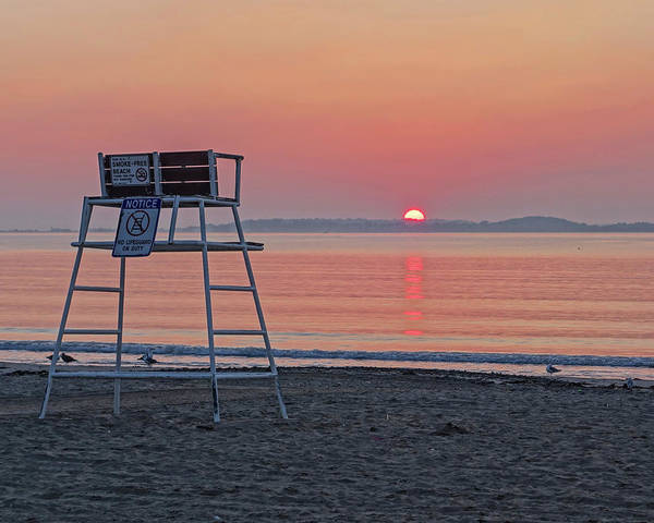 Photograph - Sunset Over Nahant From Revere Beach Lifeguard Chair by Toby McGuire