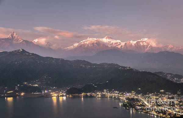 Photograph - Sunset Over Pokhara And The Massive Annapurna Mountain Range In  by Didier Marti