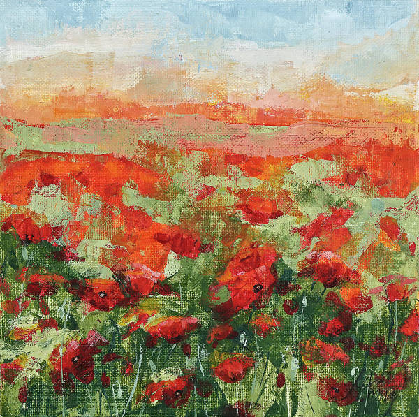 Painting - Sunset Over Poppy Field by Maria Arnaudova