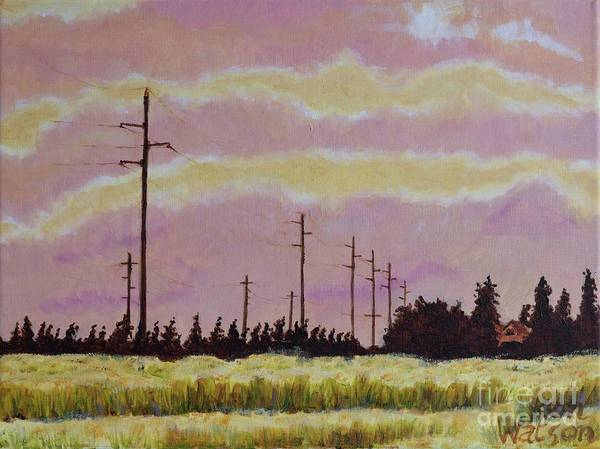 Pylon Painting - Sunset Over Powerlines by Ken Watson