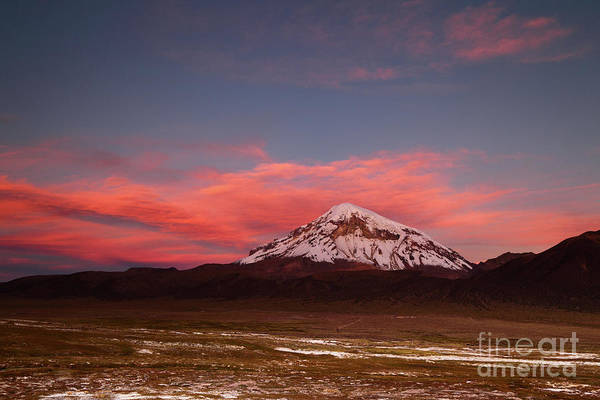Photograph - Sunset Over Sajama Volcano And Altiplano Bolivia by James Brunker