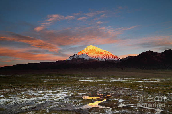 Photograph - Sunset Over Sajama Volcano Bolivia by James Brunker