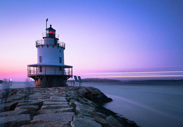 Photograph - Sunset Over Spring Breakwater Lighthouse In South Maine by Ranjay Mitra