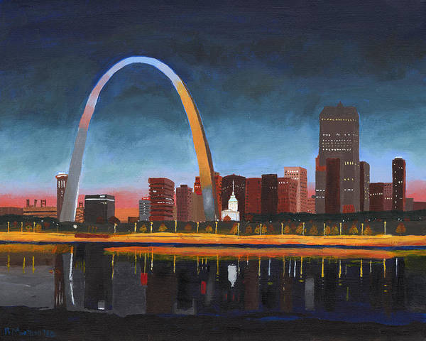 St Louis Arch Painting - Sunset Over St. Louis by Robert Montano