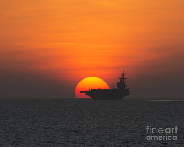 Uss George H W Bush Wall Art - Painting - Sunset Over The Aircraft Carrier  by Celestial Images