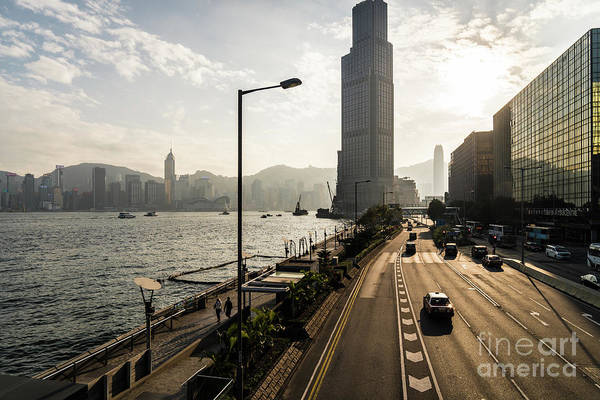 Photograph - Sunset Over The Coastal Road Along The Victoria Harbour In Hong  by Didier Marti