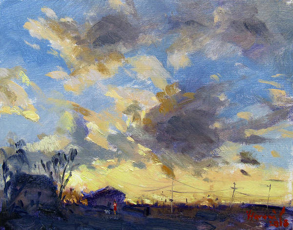 Tonawanda Wall Art - Painting - Sunset Over The Farm by Ylli Haruni